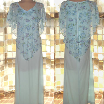 Vintage 70s Light Blue Floral Handkerchief Maxi Dress XL 1X Tiered Sheer Bodice Plus Size BOHO