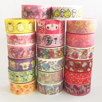 15MM*5M Melody Hello Kitty Twin Star Paper Masking Tape Scrapbooking Decorative Washi Tape Diary Notebook Album DIY Craft