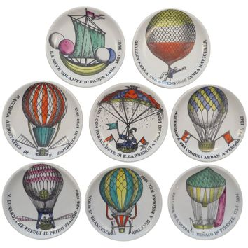 Set of Eight Colored Hot Air Balloon Motif Coasters by Piero Fornasetti