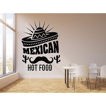 Vinyl Wall Decal Mexican Hot Food Cuisine Decor Sombrero Cactus Stickers Mural (g1726)