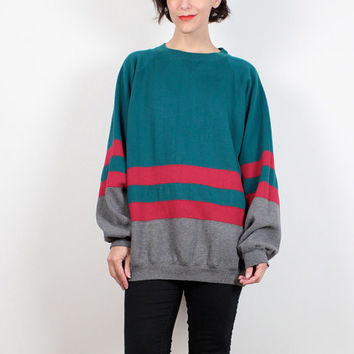 Vintage Boyfriend Sweater Red Teal Green Gray Striped 1980s Sweatshirt Color Block Sport Sweatshirt 80s Slouch Tshirt Jumper Extra Large XL