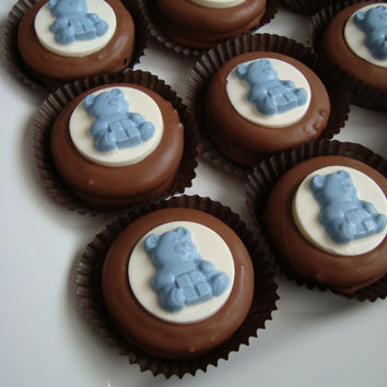 12 Chocolate Oreo Cookies Teddy Bear Baby Shower Party Favors It's a Boy Candy Blue Sweets