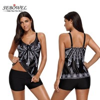 SEBOWEL 2017 Sexy Floral Print Retro Tankinis Swimsuit Women Plus size 2 Pieces Swim wear Tops With Shorts Bathing Suit Bikinis