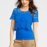 Lace Crop Short-Sleeve