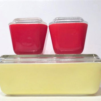 Pyrex Primary Colors| Pyrex Refrigerator Dish Set Red Pyrex| Yellow Pyrex