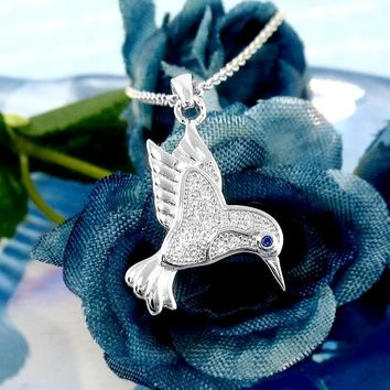 Hovering Hummingbird Necklace with Crystal Feathers & Eye