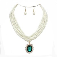 Classic Cream Six Strands Glass Pearl Emerald Green Crystal Medallion Necklace Earrings Set Gift Bijoux