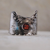 NEW! Wide Band Ring - One of A Kind - Designer Unique Ring - Natural Garnet Gemstone - Adjustable from size 4 to size 9 US Size