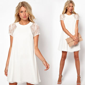 New Women Loose Chiffon Dress Short Sleeve Lace Insert One-piece Shift Dress  White/Black/Red/Blue  G0424|MO02 = 1958354372