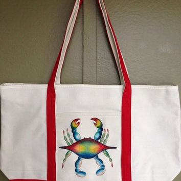 Hand Painted Zippered Tote Bag Blue Crab