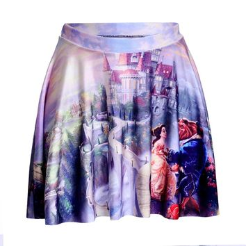 Summer style New 2015 sexy Women's fashion Beauty Beast romance SKATER SKIRTS-LIMITED Digital Print Ladies Fairy tales SKIRTS