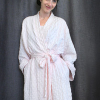 Short Simple Wrap Robe Waffle 100% Cotton Knit, Made In The USA | Simple Pleasures, Inc.