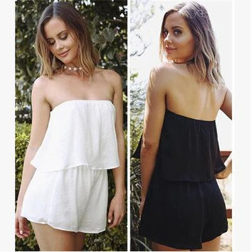 Casual Pants Women's Fashion Sexy Bra Strapless Jumpsuit Summer One Piece Dress [10118082893]