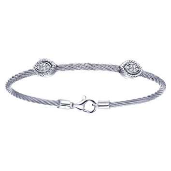 Gabriel Diamond Oval Shaped 2 Station Stainless Steel and Silver Bangle Cable Bracelet Featuring 0.10 Carats Diamonds