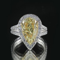 3.21ct Pear Cut Yellow Diamond 18k White Gold Engagement Ring | World's Best
