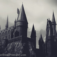 5 x 7 - Hogwarts Castle Photography, Architecture Fine Art Print, Harry Potter Wall Art, Black and White Decor, GeekArt