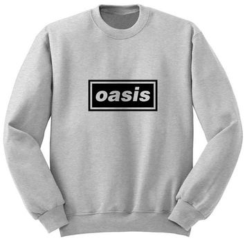 oasis sweater Gray Sweatshirt Crewneck Men or Women for Unisex Size with variant colour