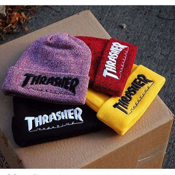 2016 Men's Winter Caps Thrasher Cotton Warm Knitted Men Women Hot Hip Hop Men Womens Casual Hat Female Beanies #CAP6A47