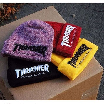 Men's Winter Caps Thrasher Cotton Warm Knitted Men Women Hot Hip Hop Men Womens Casual Hat Female Beanies #CAP6A47