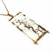 Copper White Long Statement Tree Life Pendant Necklace, Geometric Rectangle Wire Wrap Jewellery, Unique Jewelry Perfect Gift for Women