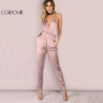 COLROVIE Dusty Pink Satin Slip Jumpsuit Sexy Cross Low Back Women Summer Jumpsuits 2017 Ruffle Strap Casual Elegant Jumpsuit