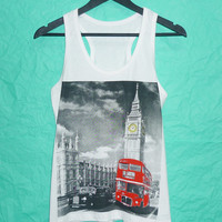 London Big Ben clock tank top White Cotton shirt Women tank top size S M L XL London Big Ben clock tank top singlet sleeveless
