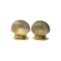 1950s Bookends, Brass Seashells, Vintage Office Beach Decor