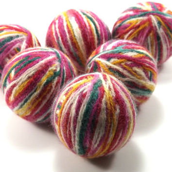 Felted Wool Dryer Balls - Multicolored Eco-Friendly Laundry Balls - Chemical Free Fabric Softener - cat toys - Wool Laundry Balls