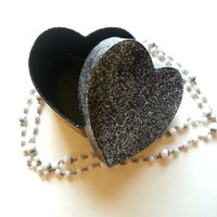 Black glitter sparkle heart shaped kids, tween, or teen jewelry box for home decor