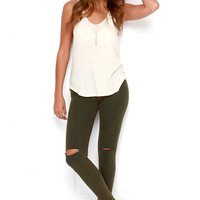 Pleasant Pine Washed Dark Green Distressed Skinny Jeans