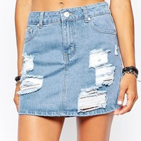 Liquor & Poker High Rise Mini Denim Skirts With Rips & Shredding