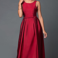 Long Open V-Back Satin Prom Dress