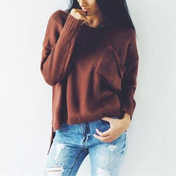 LMFCE6 Winter V-neck Long Sleeve Split Pullover Ripped Holes Sweater [42066935823]