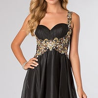 One Shoulder Beaded Party Dress by Alyce Paris