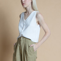 Vintage 90s White Gauzy Textured Button Front Cropped Tank Top | S