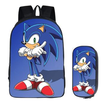 16 inch Sonic the Hedgehog Super Mario Bros School Bag for Kids Boy Backpack Children School Sets Pencil Bag Toddler Schoolbag