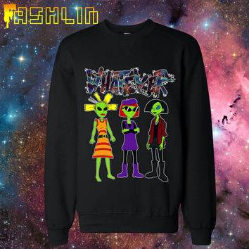 Unisex WHATEVER 90s Cartoon Alien Babes Black Sweatshirt // MTV Nickelodeon Jane Lane Cynthia Doll // FASHLIN