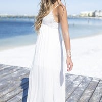 The Golden Hour Oyster Crochet Maxi Dress