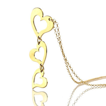 18K Yellow Gold plated on Silver 3 Heart Necklace