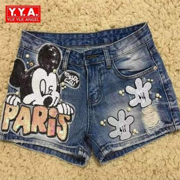 Cartoon Pattern Sequined Women Denim Shorts Hole Beading Shorts For Party Blue