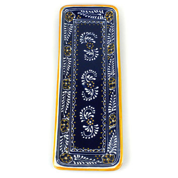 Handmade Long Platter  Blue Mexican Ceramic
