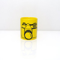 YELLOW mug for photographer Yellow cup coffee Photo camera CUP Hand painted coffee mug - Gift for him - Funny cup with camera painting