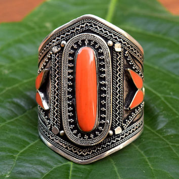 Afghan Kuchi Bracelet,Orange Coral Bracelet,Tribal Jewelry,Gypsy Boho Bracelet,Cuffs,Ethnic Carved Bracelet,Bohemian,Antique Tribal Bracelet
