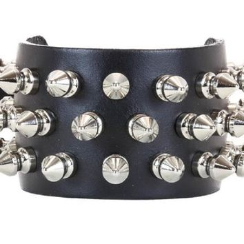 "3-Row 1/2"" Spike Black Leather Wristband 1-1/2"" Wide"