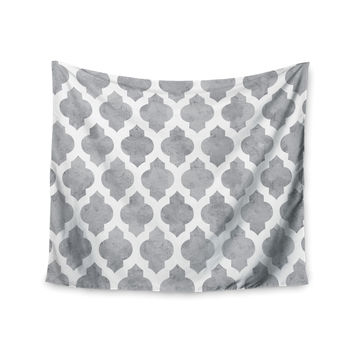 "Amanda Lane ""Gray Moroccan"" Grey White Wall Tapestry"