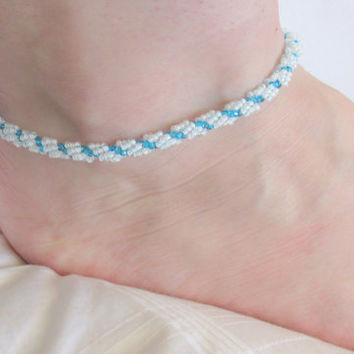 Beaded Anklet, White & Blue, Beach Wedding, Prom, Beaded Ankle Bracelet