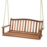 5-Ft Curved Back Natural Wood Finish Porch Swing