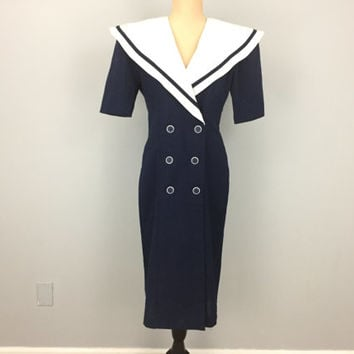 80s Sailor Dress Navy Blue & White Dress Nautical Double Buttons Blue Sailor Dress 1980s Womens Dresses Short Sleeve Small Womens Clothing