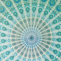 Queen Blue and green pattern printed mandala tapestries-Boho tapestry-hippie wall hanging