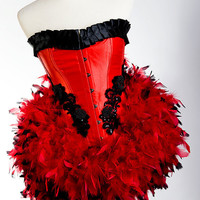MEDIUM SOPHIA Red/Black Las Vegas Showgirl Burlesque by mmegigi